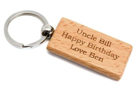 Rectangular Wooden Key Ring Personalised