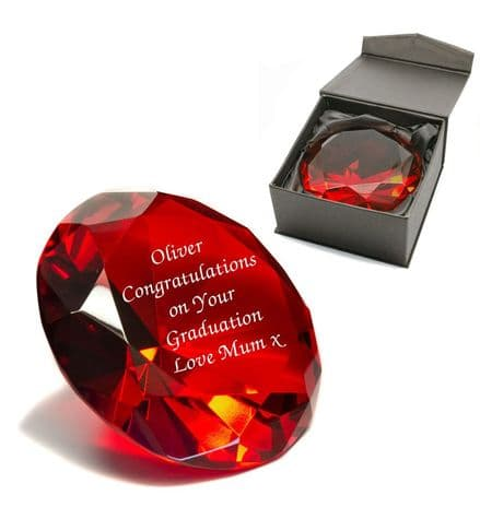 Red Crystal Glass Diamond Paperweight Personalised