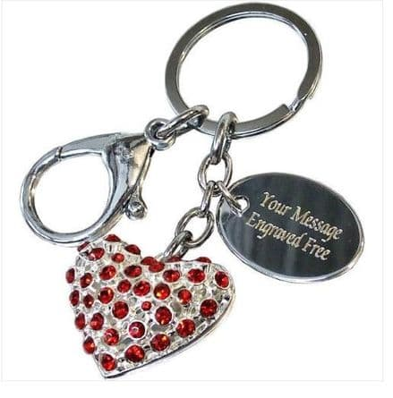 Red Crystal Heart Keyring Personalised