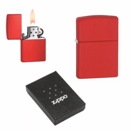Red Matte Classic Zippo Lighter Personalised