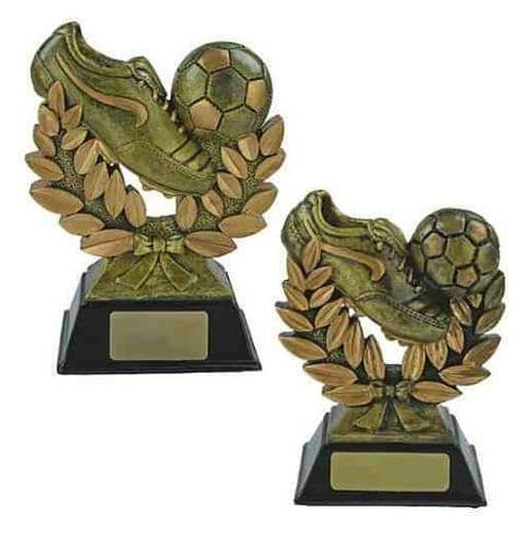 Resin Gold Football Boot and Laurel Trophy