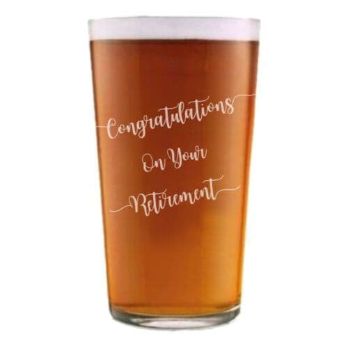 Retirement Conical Pint Glass Personalised
