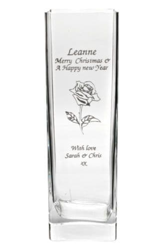 Rose Tall Square Vase Personalised