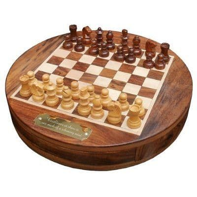 Round Wooden Chess Set Personalised
