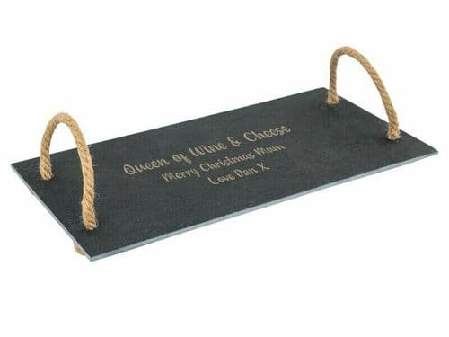 Rustic Slate Serving Tray With Rope Handles Personalised