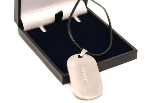 S/S Zirconia Army Military ID Dog Tag Personalised