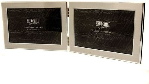 Satin Silver Double Photo Frame Landscape Personalised