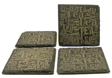 Set of 4 Tea Wording Natural Slate Coaster