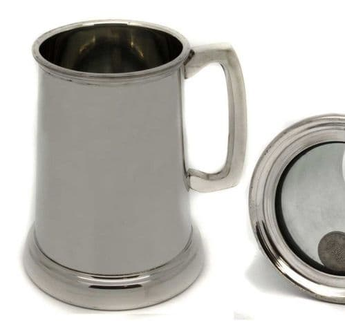 Shilling in Glass Base, 1 Pint Pewter Tankard Personalised
