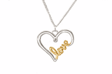 Silver and Gold Plated 'Love' Necklace