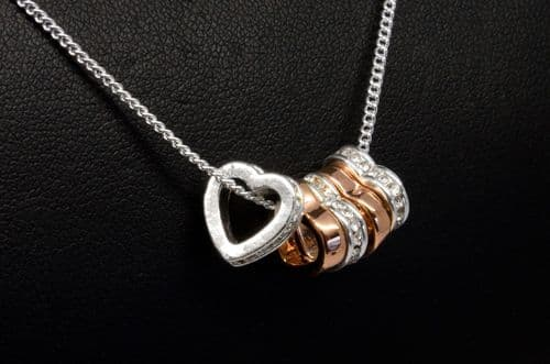 Silver and Rose Gold Plated Heart & Diamante Necklace