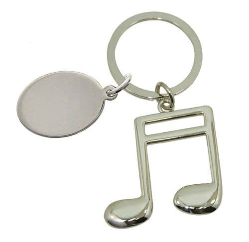 Silver Finish  Musical Note Keyring
