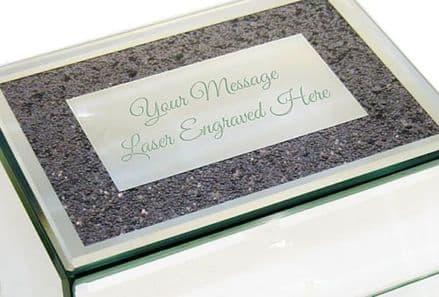 Silver Mirrored Glass Jewellery Box  Personalised