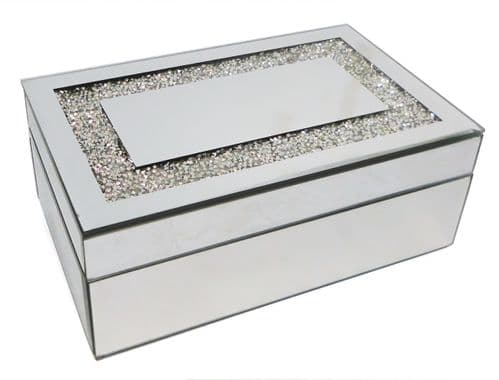 Silver Mirrored Rectangle Glass Jewellery Box  Personalised