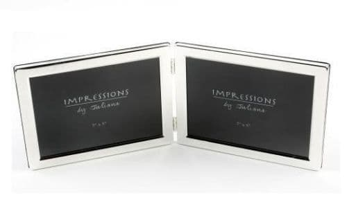 Silver Plated Double Photo Frame Landscape Personalised