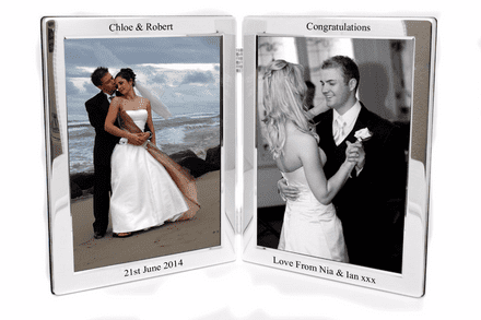 Silver Plated Double Photo Frame Personalised