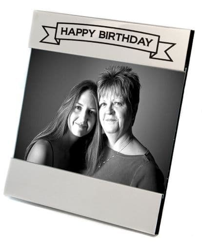 Silver Plated Happy Birthday Photo Frame Personalised