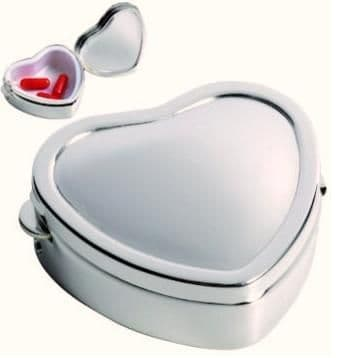 Silver Plated Heart Shaped Pill Box