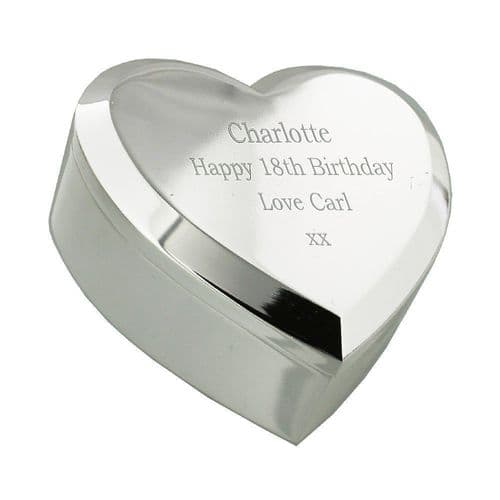 Silver Plated Heart Shaped Trinket Box Personalised