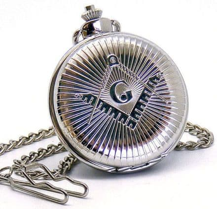 Silver Plated Masonic G Pocket Watch Personalised