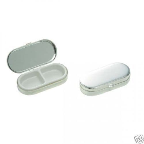 Silver Plated Oblong Pill Box with Mirror