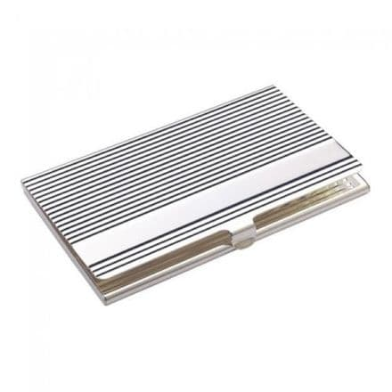 Silver Plated Ribbed Business Card Holder Personalised