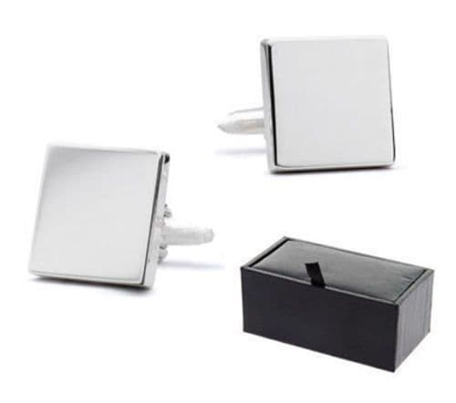 Silver Plated Square Cufflinks Personalised