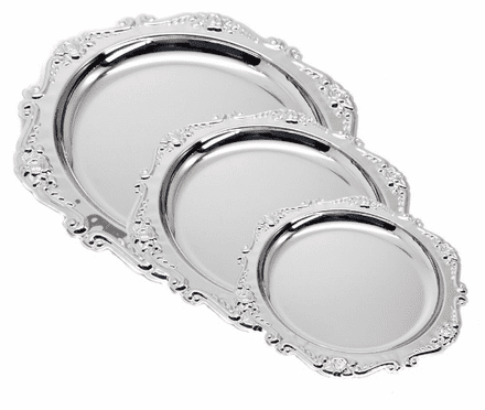 Silver Salver Award with Floral Patterned Trim