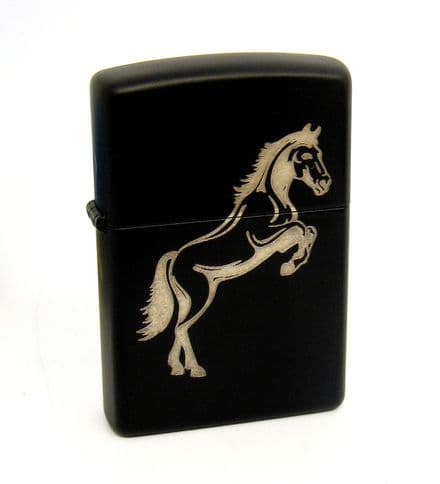 Silver Stallion Horse Black Matte Zippo Lighter Personalised