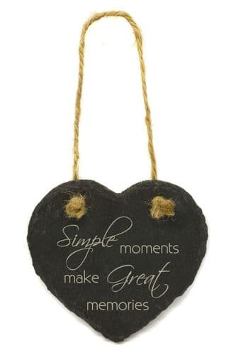 Simple Moments Hanging Slate Heart