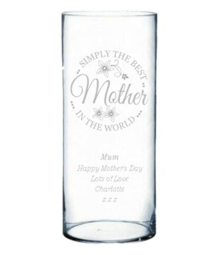 Simply the Best 25cm Glass Flower Vase  Personalised