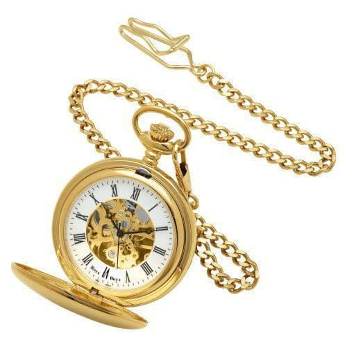 Skeleton Pocket Watch Gold Plated Personalised