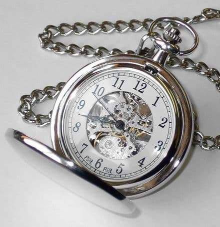 Skeleton Pocket Watch Silver Plated Personalised