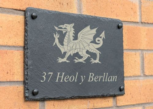 Slate Outdoor House Plaque With Dragon Design