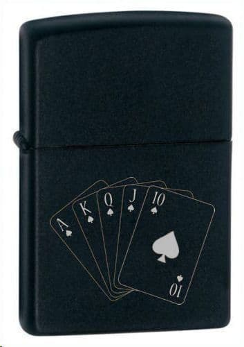 Spades Royal Flush Black Matte Zippo Lighter Personalised