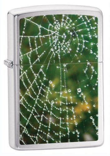 Spider Web Brushed Chrome Zippo Lighter Personalised