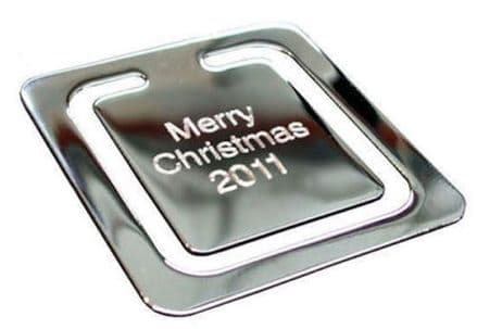 Square Polished Chrome Bookmark Personalised For Christmas