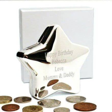 Star Money Box Silver Plated Personalised