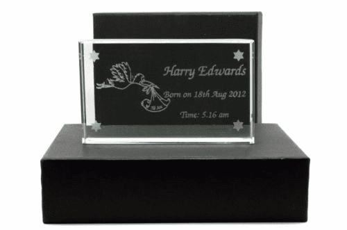 Stork and Baby Glass Block Personalised
