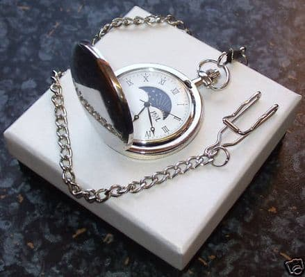 Sun and Moon Silver Plated Pocket Watch Personalised