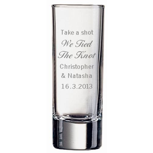 Tall Shot Cup with Wedding Design Personalised