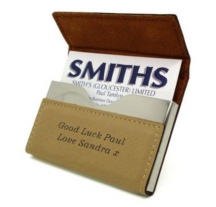 Tan Leatherette Business Card Holder Personalised