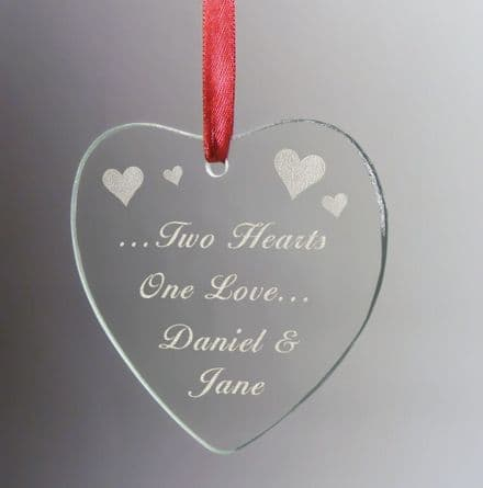 Two Hearts, One Love Hanging Glass Heart Personalised