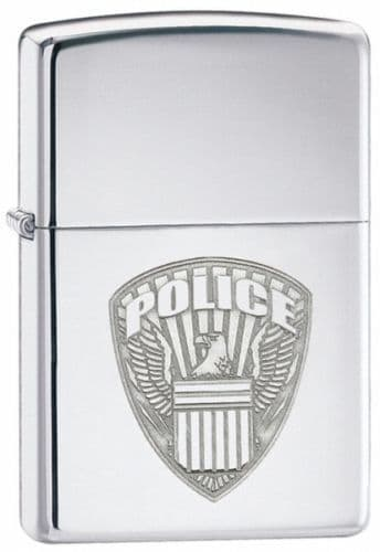 US Police Chrome Zippo Lighter Personalised