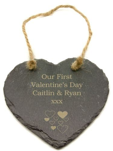 Valentines Day Multiple Hearts Design Slate Heart Personalised