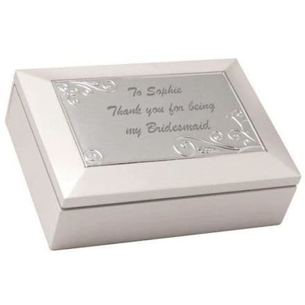 White Wooden Musical Trinket Box Personalised