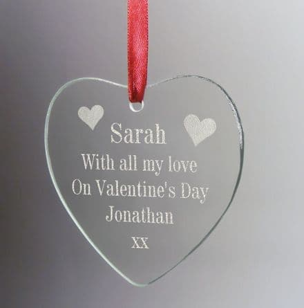 With All My Love Hanging Heart Personalised
