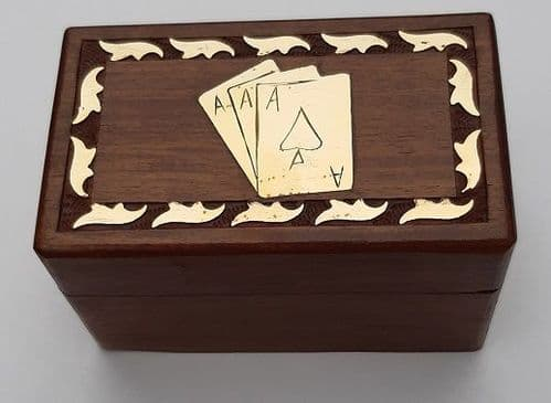 Wood & Brass Double Playing Card Box Personalised