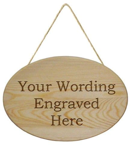 Wooden Oval Hanging  Plaque Personalised