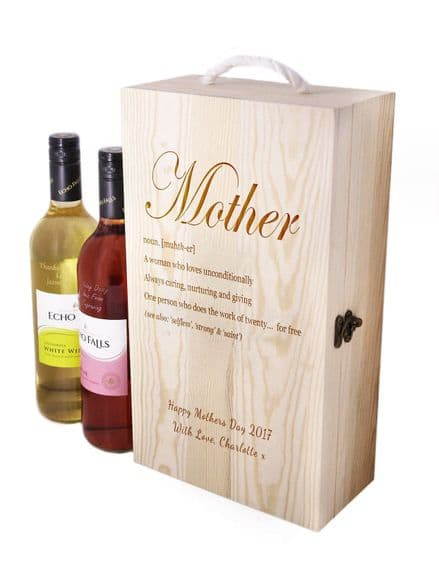 Wooden Wine Box with Mother Definition Personalised